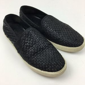 Vince. Black Woven Leather Slip-on Flats Size 9